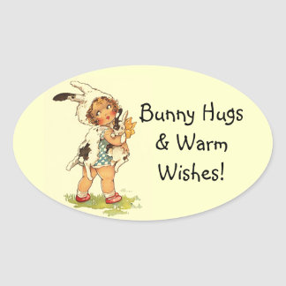 Sticker Vintage So Sweet Vintage Child Bunny Hugs