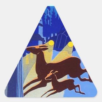 Sticker Vintage Travel Deer in Headlights Art Deco