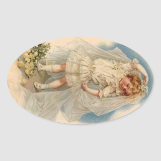 Sticker Vintage Victorian Bride Roses Wedding Gown