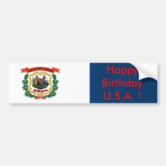 Sticker with Flag of West Virginia State Car Bumper Sticker