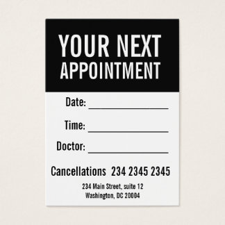 Sticking Black White Objective Simple Appointment Business Card