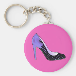 Stiletto pump, blue on hot pink key chains