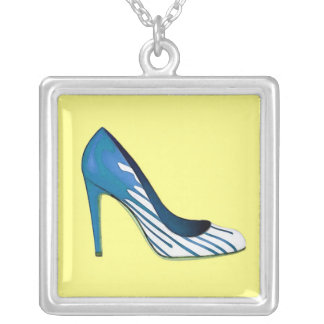 Stiletto pump, blue on yellow necklace