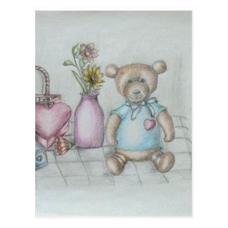 still ife hearts nad teddy bear postcard