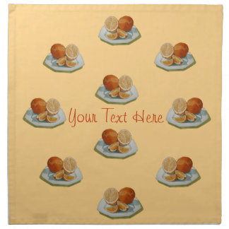 Still life fruit sliced orange realist art napkins