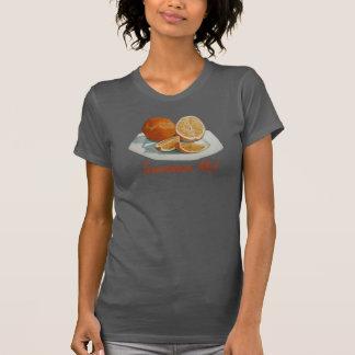 Still life fruit sliced orange slogan art t-shirt