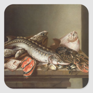 Still Life of Fish on a Table Square Sticker