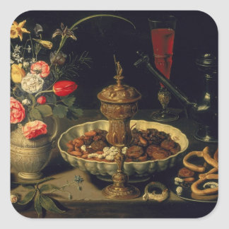 Still Life of Flowers and Dried Fruit, 1611 Square Sticker