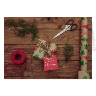 Still life of wrapped Christmas presents Card