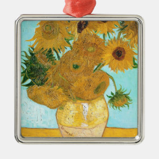 Still Life - Vase with Twelve Sunflowers van Gogh Silver-Colored Square Decoration