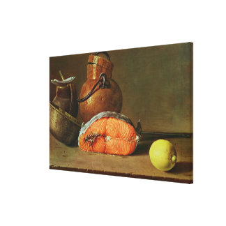 Still Life with a Piece of Salmon Canvas Print
