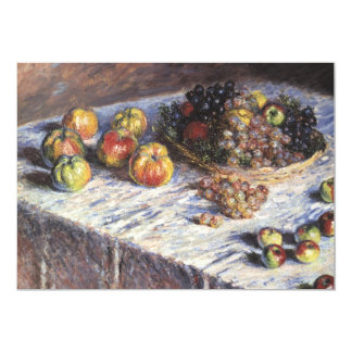 "Still Life with Apples and Grapes by Claude Monet 5"" X 7"" Invitation Card"