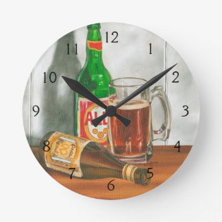 Still Life with Beer by Jennifer Goldberger Round Clock