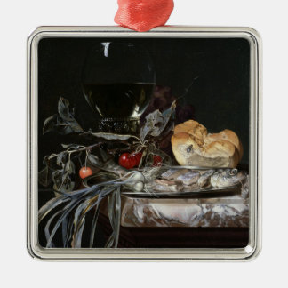 Still Life with Fish Platter Silver-Colored Square Decoration