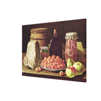Still Life with Fruit and Cheese Canvas Print