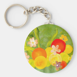 Still life with fruit & flowers art work basic round button key ring