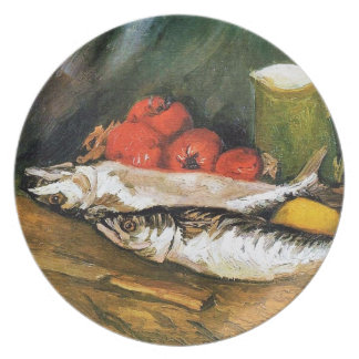 Still Life with Mackerels, Lemons and Tomatoes Plate