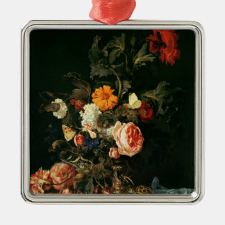 Still Life with Poppies and Roses Silver-Colored Square Decoration