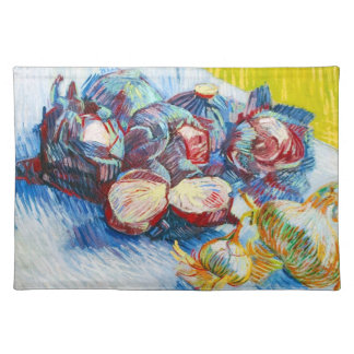 Still Life with Red Cabbage and Onions by Vincent Placemat