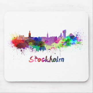 Stockholm skyline in watercolor mouse pad
