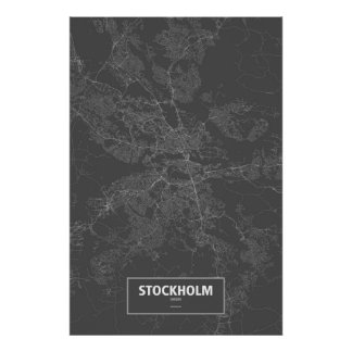 Stockholm, Sweden (white on black) Poster