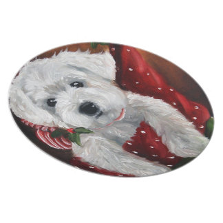 Stocking Stuffer Westie Terrier Puppy Plate Gift
