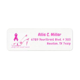 Stomp Out Breast Cancer Pink Ribbon Return Address Label