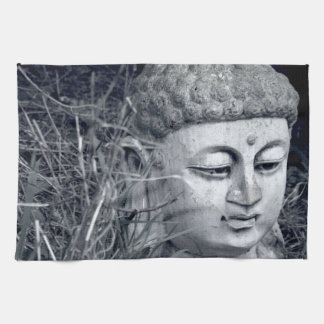 Stone Buddha head kitchen tea towel