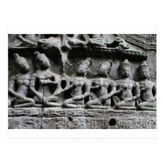 stone figures at ta prohm postcard