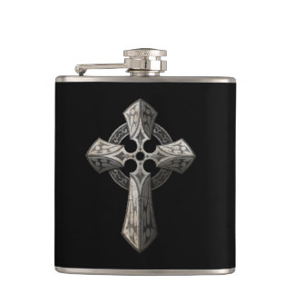 Stone Gothic Cross with Tribal Inlays on Black Hip Flask