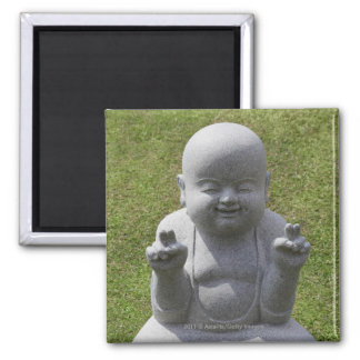Stone statue of happy Buddha Square Magnet
