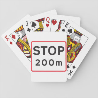 Stop 200 Meters Road Sign Playing Cards