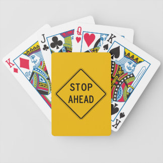 Stop Ahead, Traffic Warning Sign, USA Bicycle Playing Cards