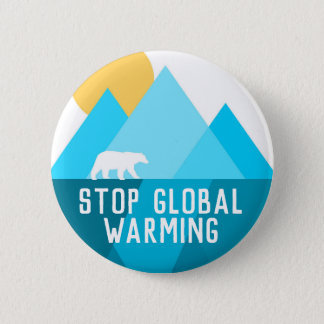 Stop Global Warming Polar Bear Glacier Button