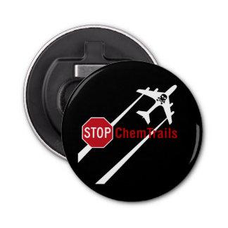 Stop Sign Plane White Chemtrails Skull Bones Bottle Opener