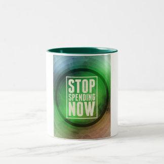 Stop Spending Now Two-Tone Coffee Mug