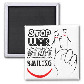 Stop War Big Smile Two Finger Peace Symbol Magnet