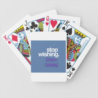 stop wishing start doing bicycle playing cards