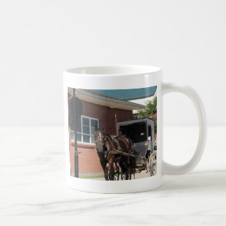 Stopped for a Spell, An Amiish Horse at stop sign Coffee Mug