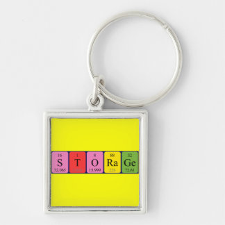 Storage periodic table keyring Silver-Colored square key ring