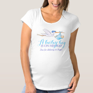 Stork baby boy on the way personalised apparel maternity T-Shirt