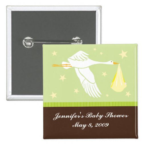 Stork Baby Shower Pin - Green/Brown