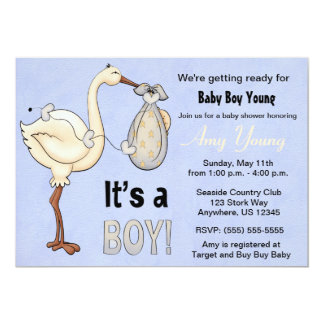Stork Blue Boy Baby Shower Invitation