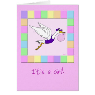 Stork Delivery Service: It's a Girl! Card