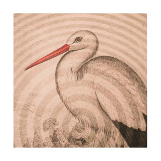 Stork on Wood Wood Canvases