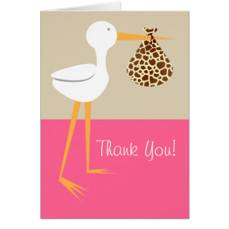 Stork With Giraffe Bundle Baby Shower Thank You Greeting Cards