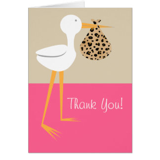 Stork With Leopard Bundle Baby Shower Thank You Card