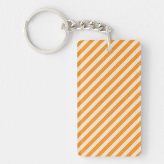 [STR-OR-1] Orange and white striped Double-Sided Rectangular Acrylic Key Ring