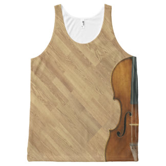 Stradivari Violin on Wood Panel Effect All-Over Print Singlet