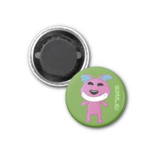 strange dog 3 cm round magnet